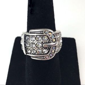Premier Designs Buckle Up Rhinestone Ring Size 6